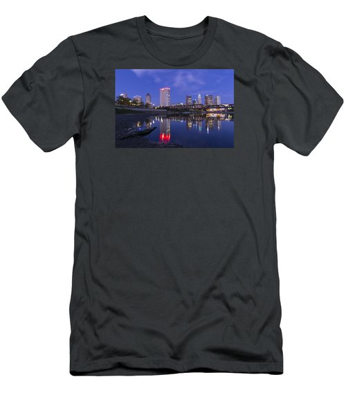 Men's T-Shirt (Slim Fit) featuring the photograph Columbus Evening On Water by Alan Raasch