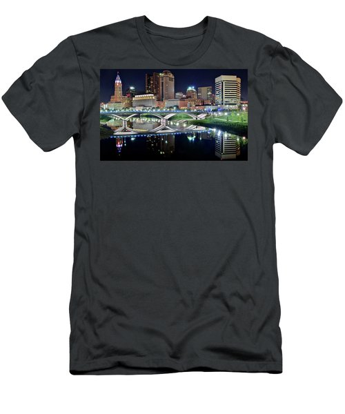 Columbus Over The Scioto Men's T-Shirt (Slim Fit) by Frozen in Time Fine Art Photography