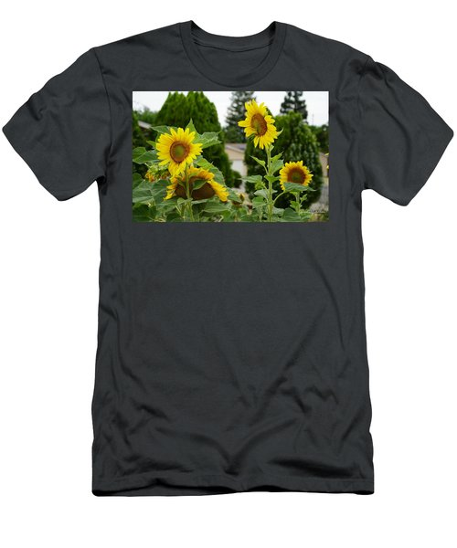 Conversing Sunflowers Men's T-Shirt (Athletic Fit)