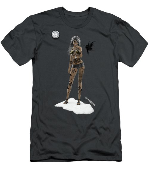 Cool 3d Girl With Bling And Tattoos In Black Men's T-Shirt (Athletic Fit)