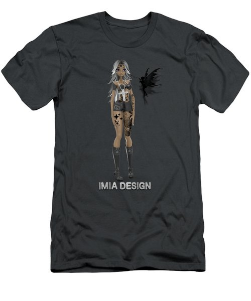 Cool 3d Manga Girl With Bling And Tattoos Men's T-Shirt (Athletic Fit)