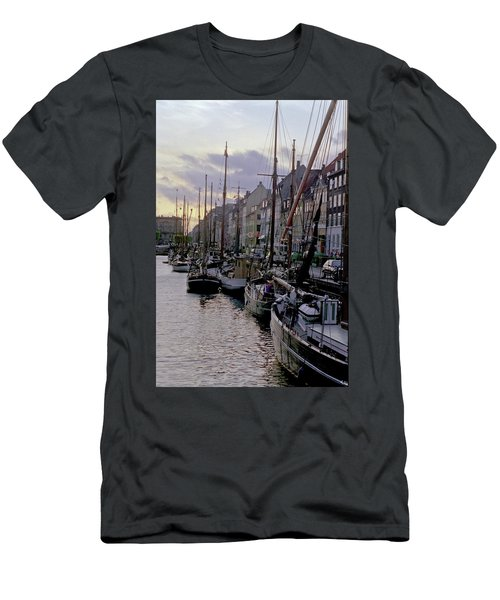 Men's T-Shirt (Athletic Fit) featuring the photograph Copenhagen Quay by Frank DiMarco