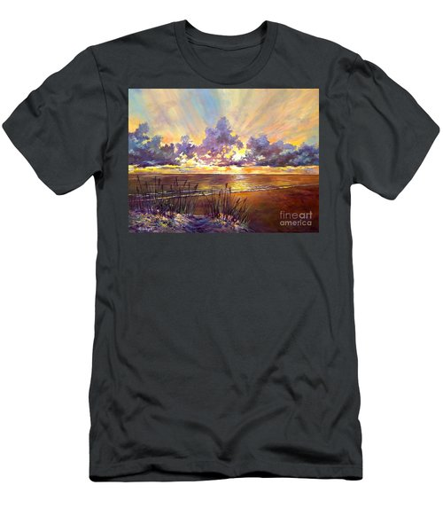 Coquina Beach Sunset Men's T-Shirt (Slim Fit) by Lou Ann Bagnall