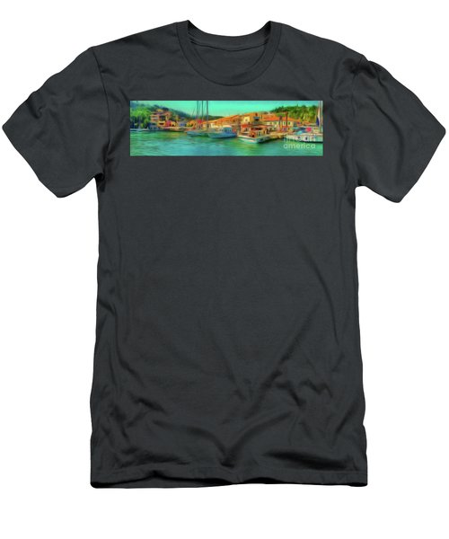Men's T-Shirt (Athletic Fit) featuring the photograph Corfu 14 - Panorama Of Lakka On Paxos by Leigh Kemp