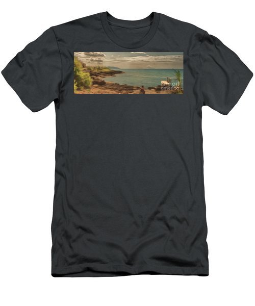 Men's T-Shirt (Athletic Fit) featuring the photograph Corfu 15  - My Lady On The Rocks by Leigh Kemp