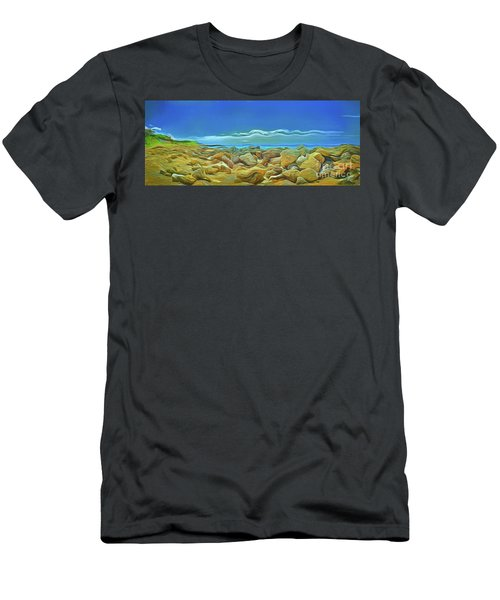 Men's T-Shirt (Athletic Fit) featuring the photograph Corfu 3 - Surreal Rocks by Leigh Kemp