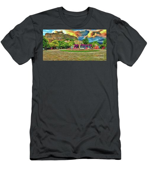 Men's T-Shirt (Athletic Fit) featuring the photograph Corfu 32 - Near The Fortress by Leigh Kemp