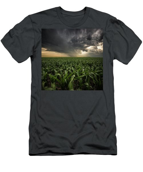 Men's T-Shirt (Athletic Fit) featuring the photograph Corn And Lightning by Aaron J Groen