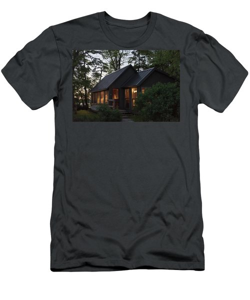 Men's T-Shirt (Athletic Fit) featuring the photograph Cosy Cabin In The Woods by Gary Eason