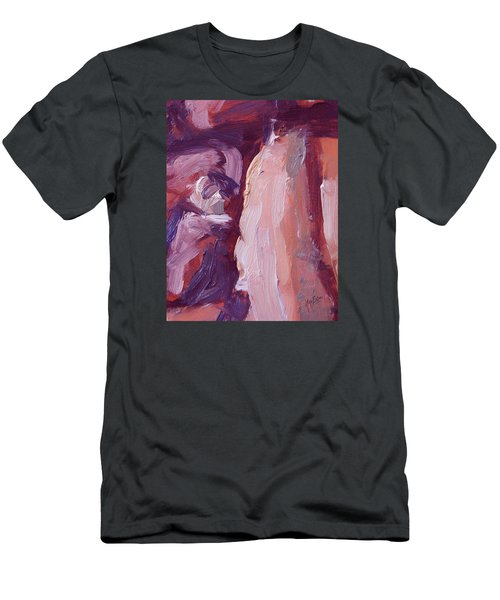 Men's T-Shirt (Slim Fit) featuring the painting Couch Abstract In Red And Purple by Nop Briex