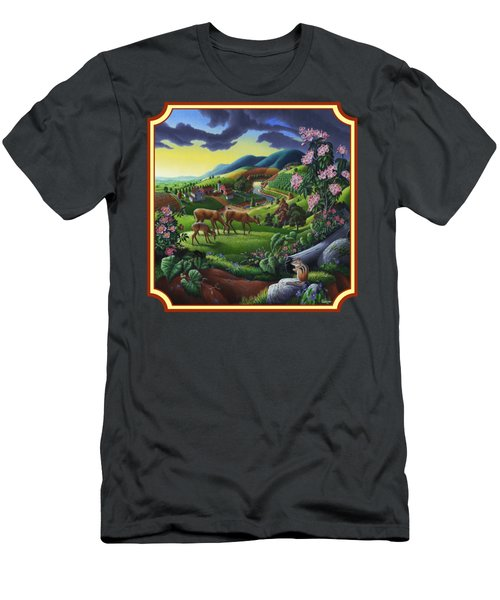 Country Landscape - Deer In The High Meadow - Square Format Men's T-Shirt (Athletic Fit)
