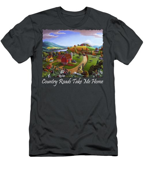 Country Roads Take Me Home T Shirt - Appalachian Blackberry Patch Rural Farm Landscape 2 Men's T-Shirt (Athletic Fit)