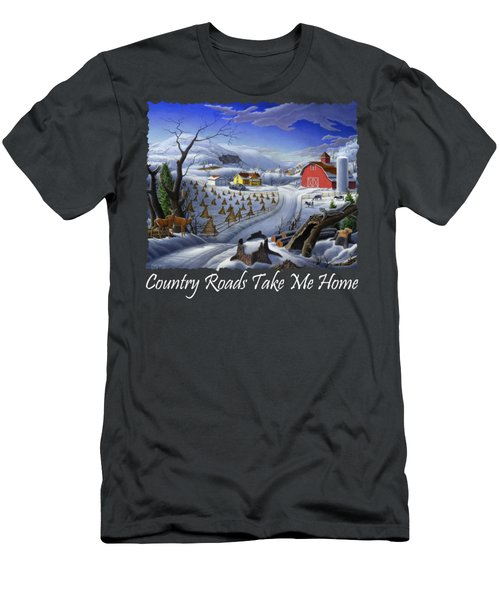 Country Roads Take Me Home T Shirt - Coon Gap Holler - Rural Winter Country Farm Landscape Men's T-Shirt (Athletic Fit)