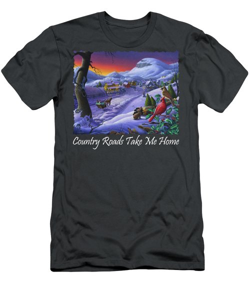 Country Roads Take Me Home T Shirt - Small Town Winter Landscape With Cardinals 2 - Americana Men's T-Shirt (Athletic Fit)