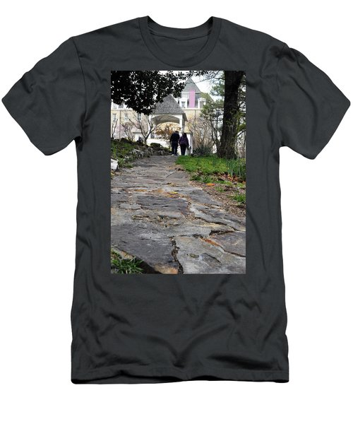Men's T-Shirt (Athletic Fit) featuring the photograph Couple On A Garden Path by W And F Kreations