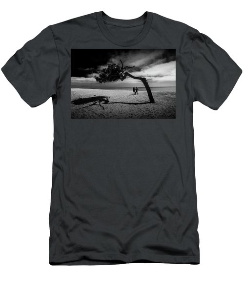 Men's T-Shirt (Slim Fit) featuring the photograph Couple On Cabrillo Beach By Los Angeles California by Randall Nyhof