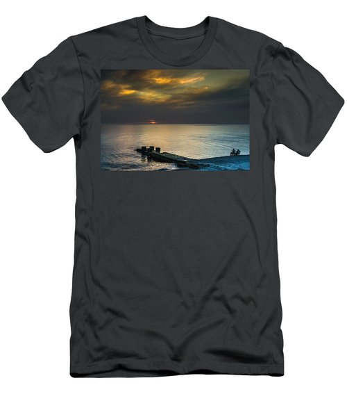 Men's T-Shirt (Slim Fit) featuring the photograph Couple Watching Sunset by John Williams