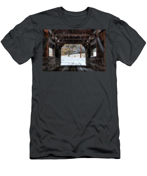 Men's T-Shirt (Athletic Fit) featuring the photograph Covered Bridge In Snow - Warren Vt by Joann Vitali
