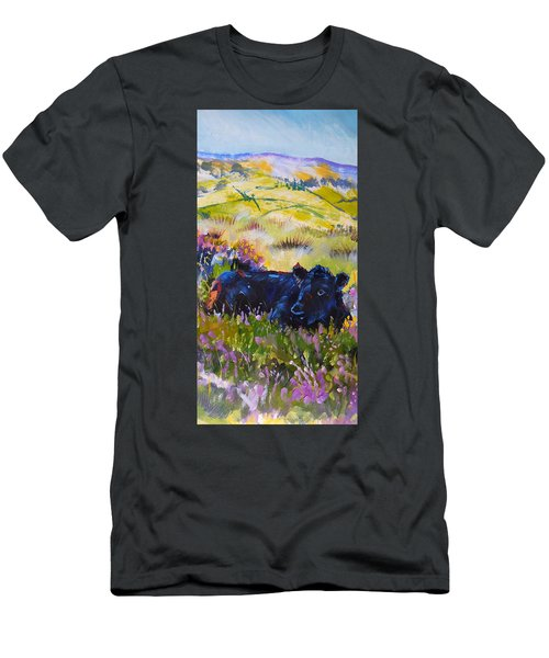 Cow Lying Down Among Plants Men's T-Shirt (Athletic Fit)
