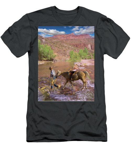 Cowboy And Horse Men's T-Shirt (Athletic Fit)