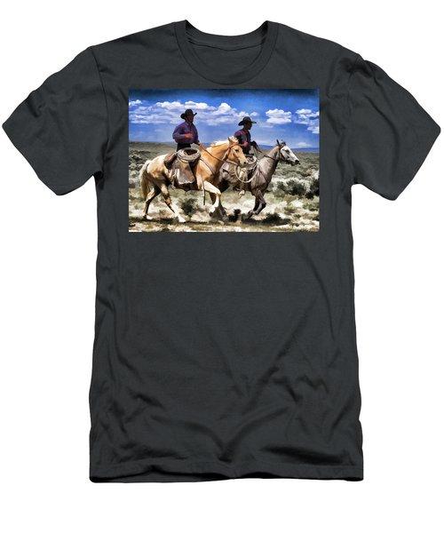 Cowboys On Horseback Riding The Range Men's T-Shirt (Athletic Fit)