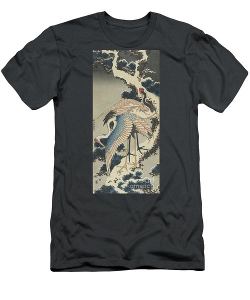 Cranes On Pine Men's T-Shirt (Slim Fit) by Hokusai