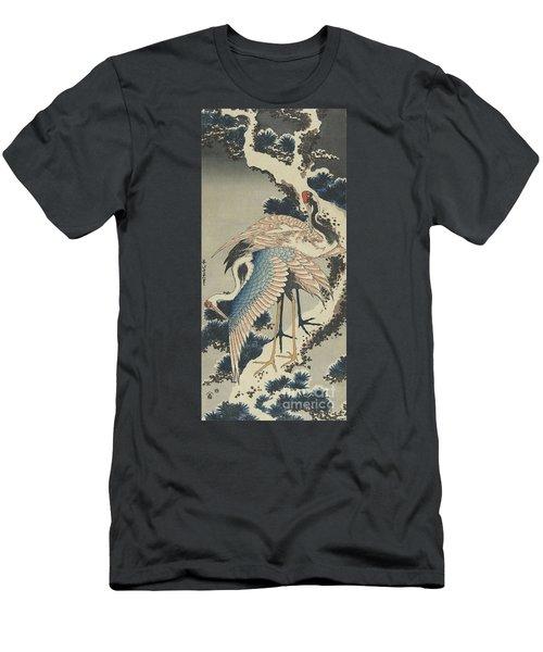 Cranes On Pine Men's T-Shirt (Slim Fit)