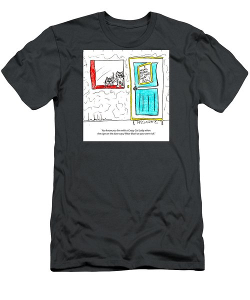Men's T-Shirt (Slim Fit) featuring the painting Crazy Cat Lady 0005 by Lou Belcher