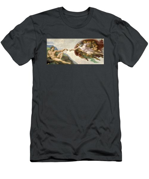 Creation Of Adam - Painted By Michelangelo Men's T-Shirt (Athletic Fit)