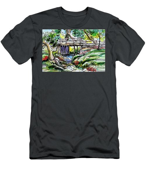 Men's T-Shirt (Slim Fit) featuring the painting Creek Bed And Bridge by Terry Banderas