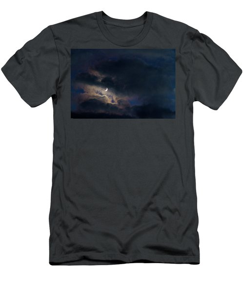 Men's T-Shirt (Slim Fit) featuring the photograph Crescent Moon In Hocking Hilla by Haren Images- Kriss Haren