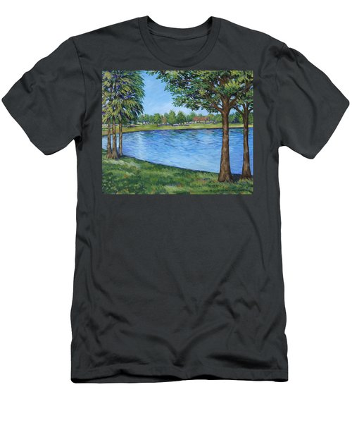 Men's T-Shirt (Slim Fit) featuring the painting Crest Lake Park by Penny Birch-Williams