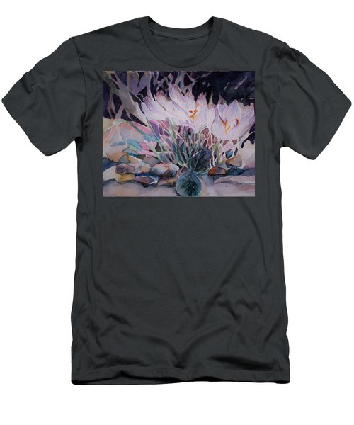 Men's T-Shirt (Slim Fit) featuring the painting Crocuses by Mindy Newman