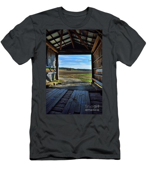 Men's T-Shirt (Slim Fit) featuring the photograph Crooks Covered Bridge 2 by Joanne Coyle