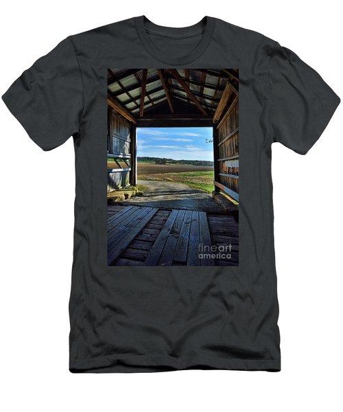 Crooks Covered Bridge 2 Men's T-Shirt (Slim Fit) by Joanne Coyle