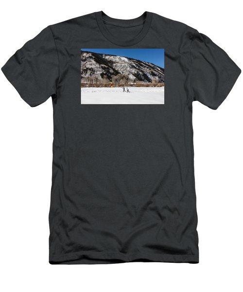 Cross-county Skiers Outside Aspen Men's T-Shirt (Slim Fit) by Carol M Highsmith