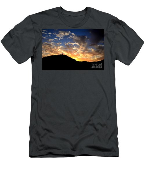 Cross On A Hill Men's T-Shirt (Slim Fit) by Sharon Soberon