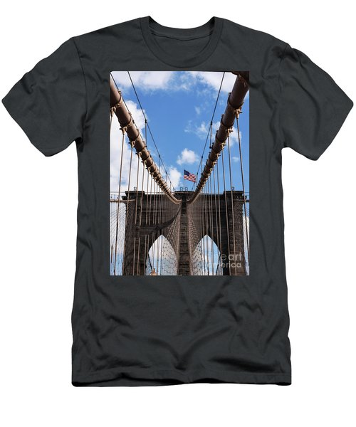 Crossing The Brooklyn Bridge Men's T-Shirt (Slim Fit) by Judy Wolinsky