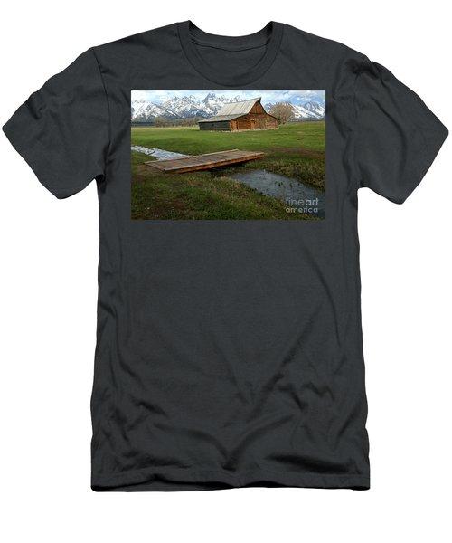 Crossing The Creek Along Mormon Row Men's T-Shirt (Slim Fit) by Adam Jewell