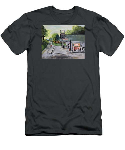 Men's T-Shirt (Athletic Fit) featuring the painting Crossroads Grocery - Elijay, Ga - Old Gas And Grocery Store by Jan Dappen