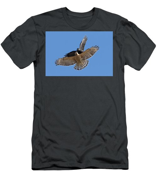Men's T-Shirt (Slim Fit) featuring the photograph Crow Vs Hawk by Mircea Costina Photography