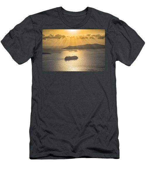 Men's T-Shirt (Slim Fit) featuring the tapestry - textile Cruise Ship In Greece by Kathy Adams Clark