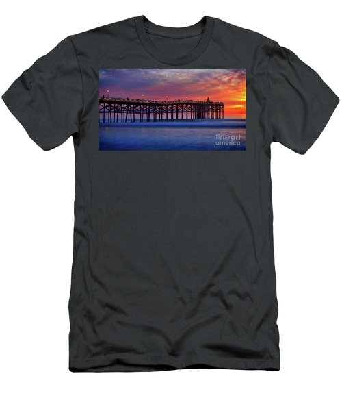 Crystal Pier In Pacific Beach Decorated With Christmas Lights Men's T-Shirt (Athletic Fit)