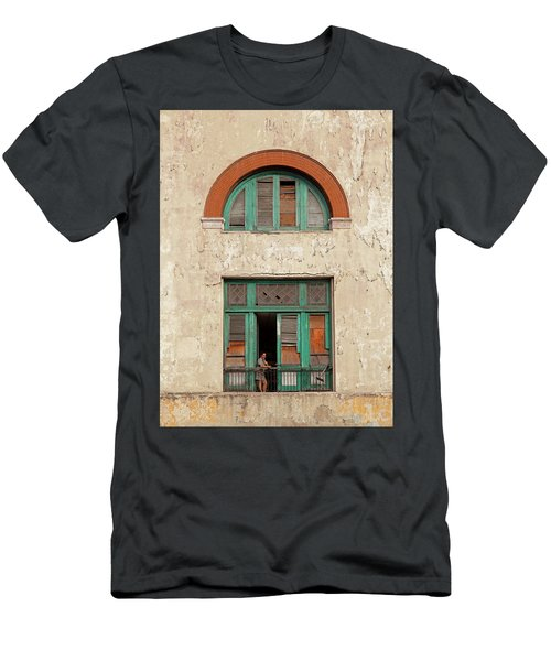 Men's T-Shirt (Athletic Fit) featuring the photograph Cuban Woman On San Pedro Balcony Havana Cuba by Charles Harden