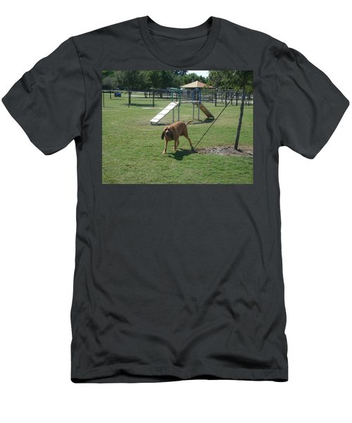 Cujo At The Park Men's T-Shirt (Slim Fit) by Val Oconnor
