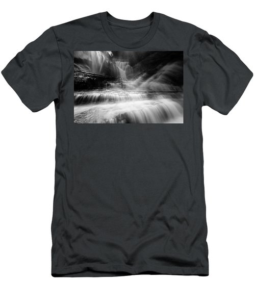 Cummins Falls In Black And White Men's T-Shirt (Athletic Fit)