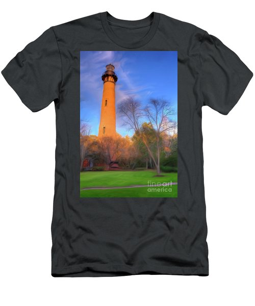 Currituck Lighthouse In Winter Outer Banks Ap Men's T-Shirt (Slim Fit) by Dan Carmichael
