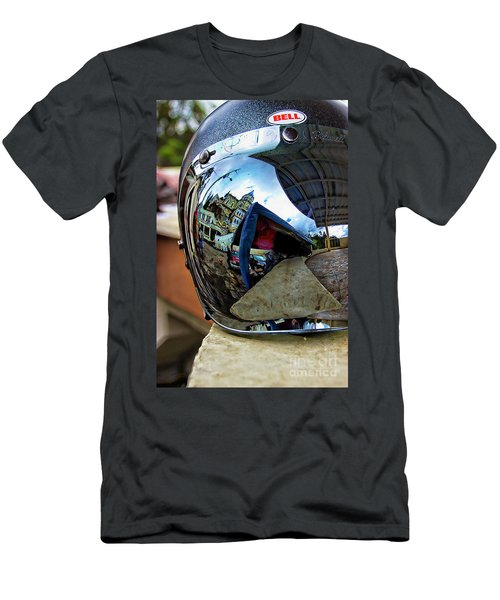 Men's T-Shirt (Slim Fit) featuring the photograph Cyclist's View Of Biblian Church by Al Bourassa