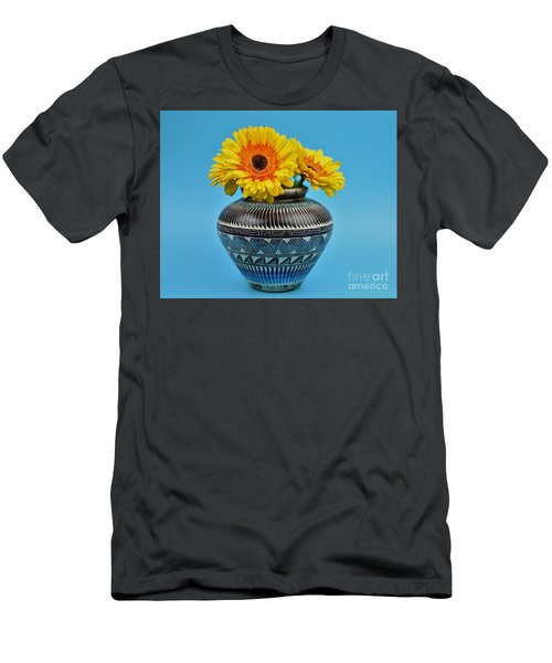 Daisies Displayed In Navajo Native American Vase Men's T-Shirt (Slim Fit) by Ray Shrewsberry