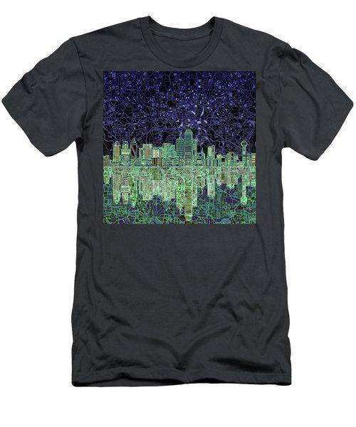 Dallas Skyline Abstract 4 Men's T-Shirt (Slim Fit) by Bekim Art